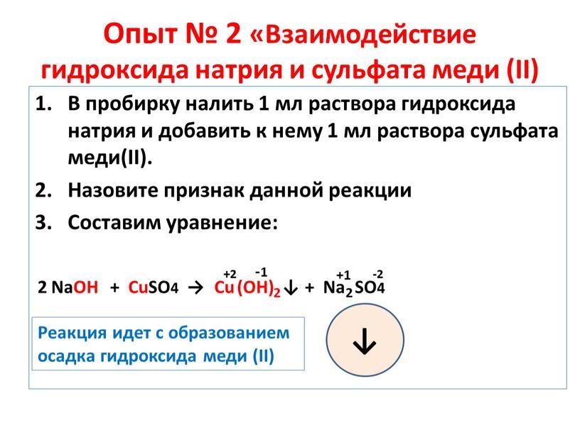 Опыт № 2 «Взаимодействие гидроксида натрия и сульфата меди (II)