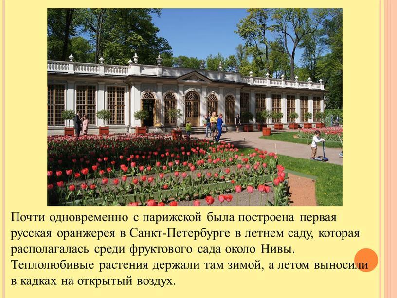 Почти одновременно с парижской была построена первая русская оранжерея в