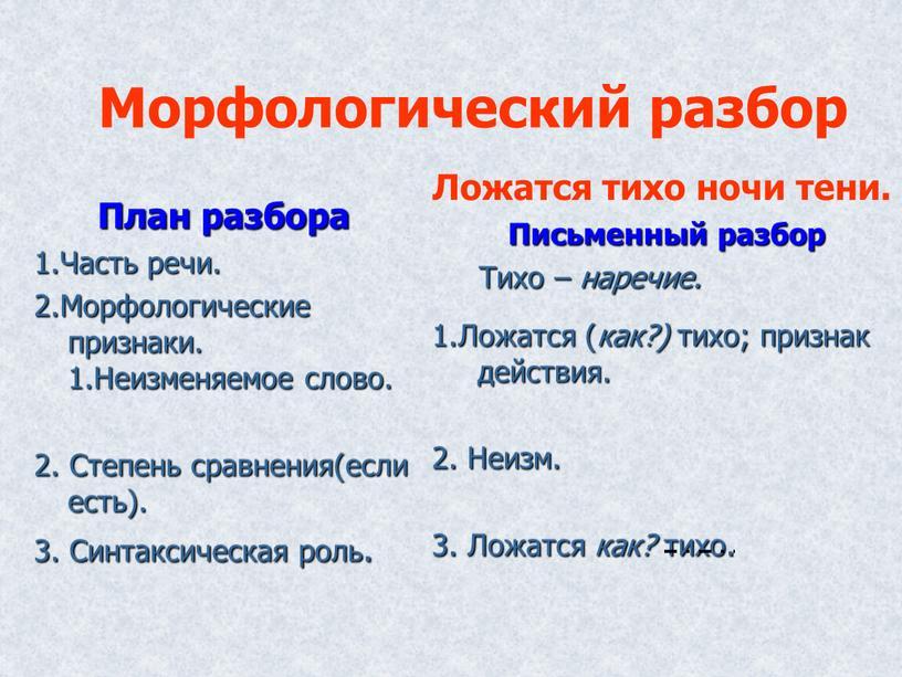 Морфологический разбор План разбора 1