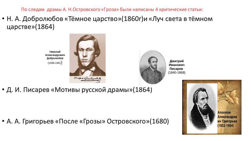 По следам драмы А. Н.Островского «Гроза» были написаны 4 критические статьи: