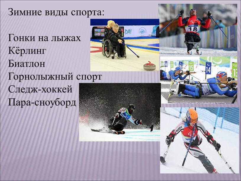 Зимние виды спорта: Гонки на лыжах