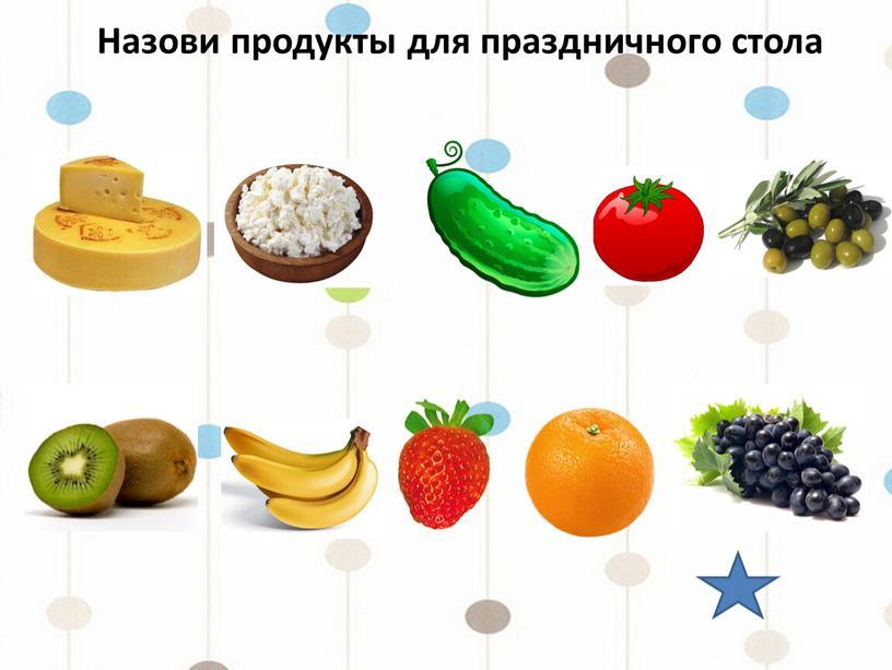 Назови продукты для праздничного стола