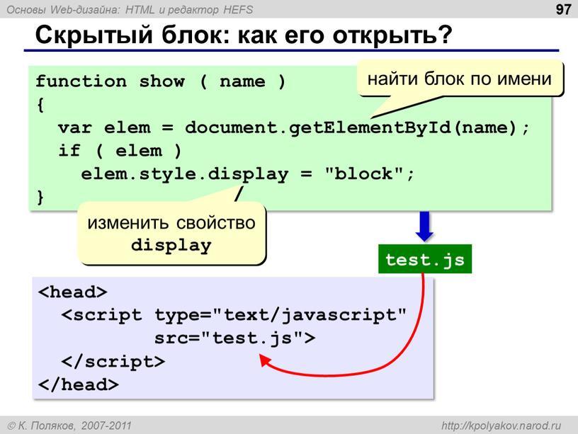 Скрытый блок: как его открыть? 97 function show ( name ) { var elem = document