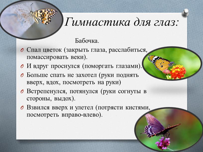 Гимнастика для глаз: Бабочка. Спал цветок (закрыть глаза, расслабиться, помассировать веки)