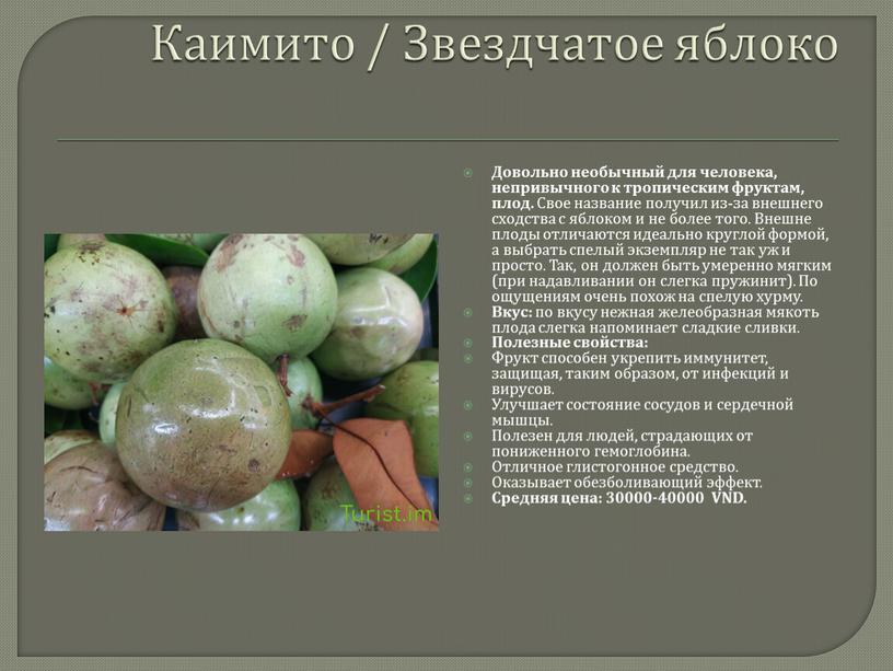Каимито / Звездчатое яблоко Довольно необычный для человека, непривычного к тропическим фруктам, плод