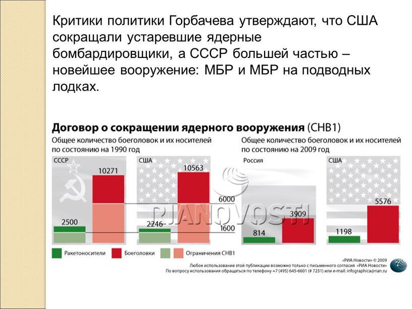 Критики политики Горбачева утверждают, что