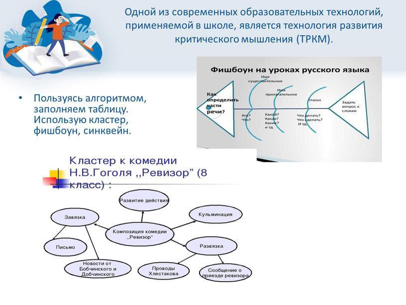 Одной из современных образовательных технологий, применяемой в школе, является технология развития критического мышления (ТРКМ)