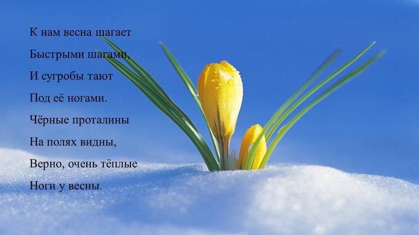 К нам весна шагает Быстрыми шагами,