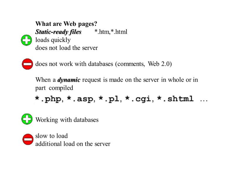 What are Web pages? Static-ready files *