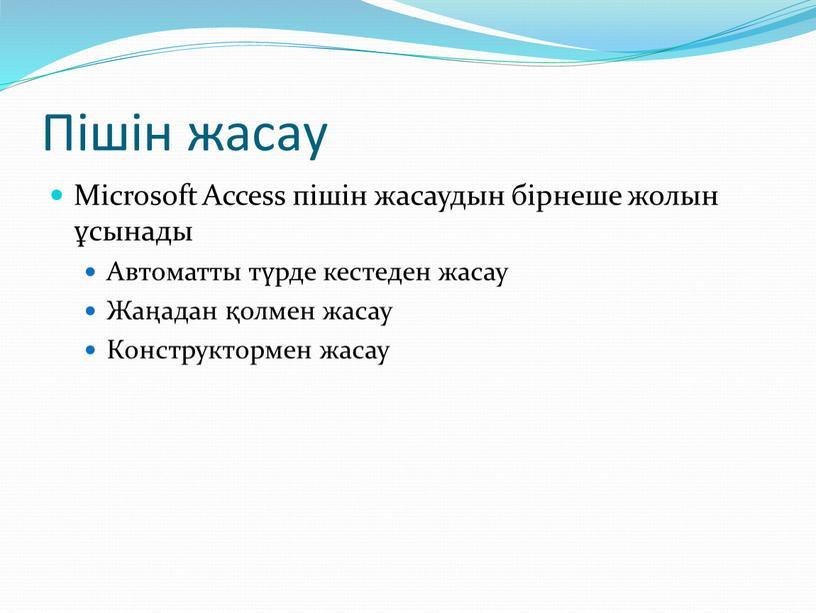 Пішін жасау Microsoft Access пішін жасаудын бірнеше жолын ұсынады