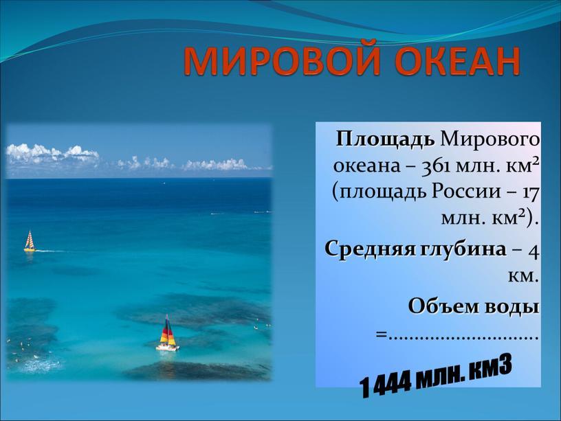МИРОВОЙ ОКЕАН Площадь Мирового океана – 361 млн