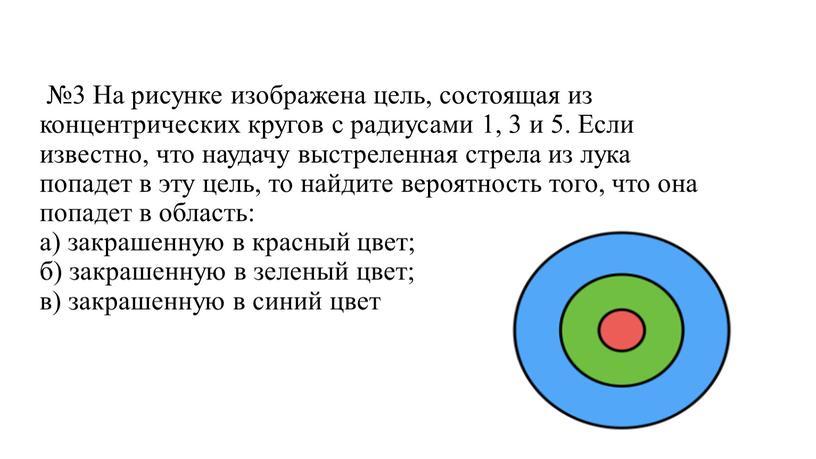 На рисунке изображена цель, состоящая из концентрических кругов с радиусами 1, 3 и 5