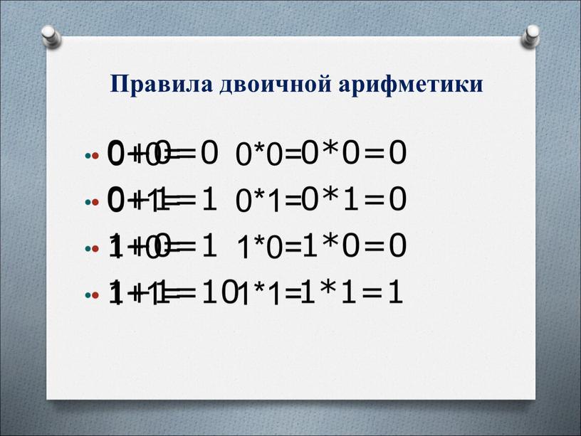 Правила двоичной арифметики 0+0= 0*0= 0+1= 0*1= 1+0= 1*0= 1+1= 1*1=
