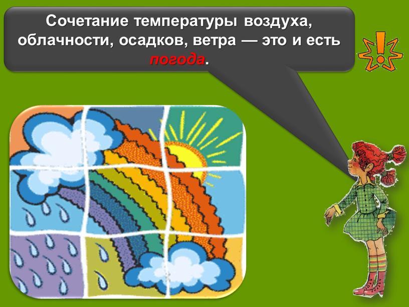 Сочетание температуры воздуха, облачности, осадков, ветра — это и есть погода