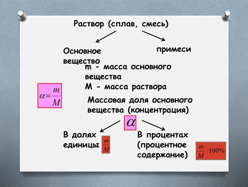 Раствор (сплав, смесь) Основное вещество примеси m - масса основного вещества