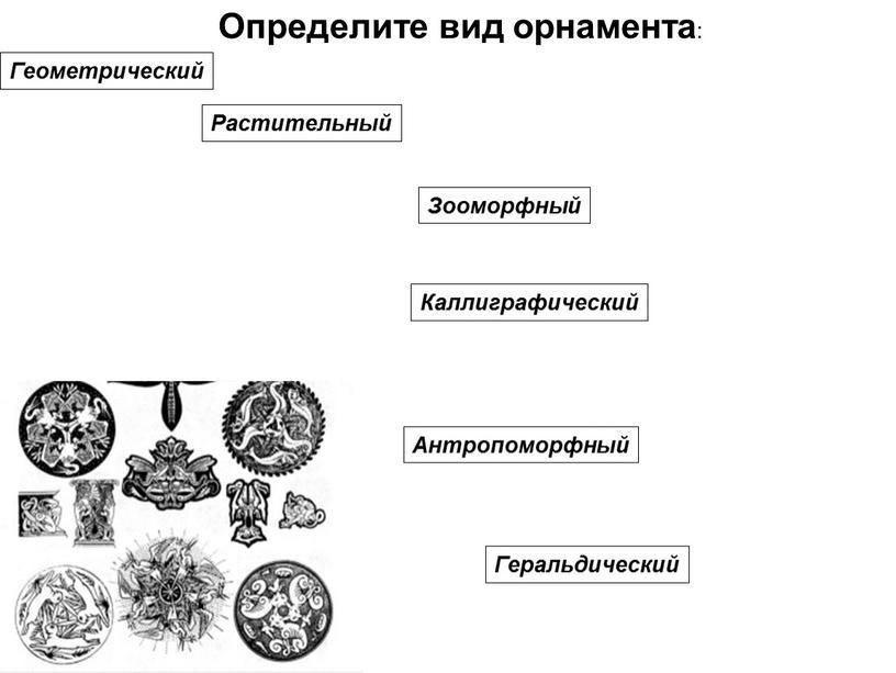 Определите вид орнамента : Геометрический