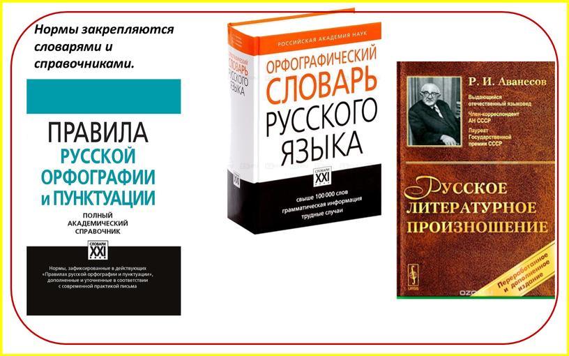 Нормы закрепляются словарями и справочниками