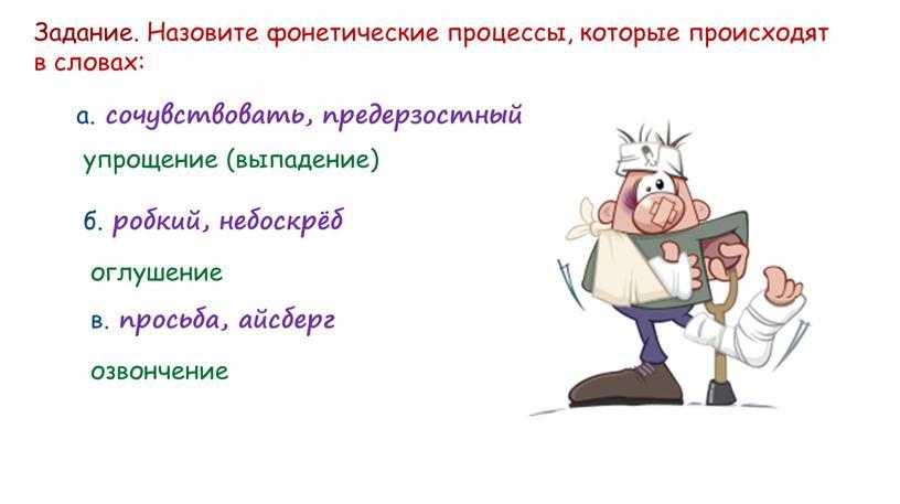 Задание. Назовите фонетические процессы, которые происходят в словах: а