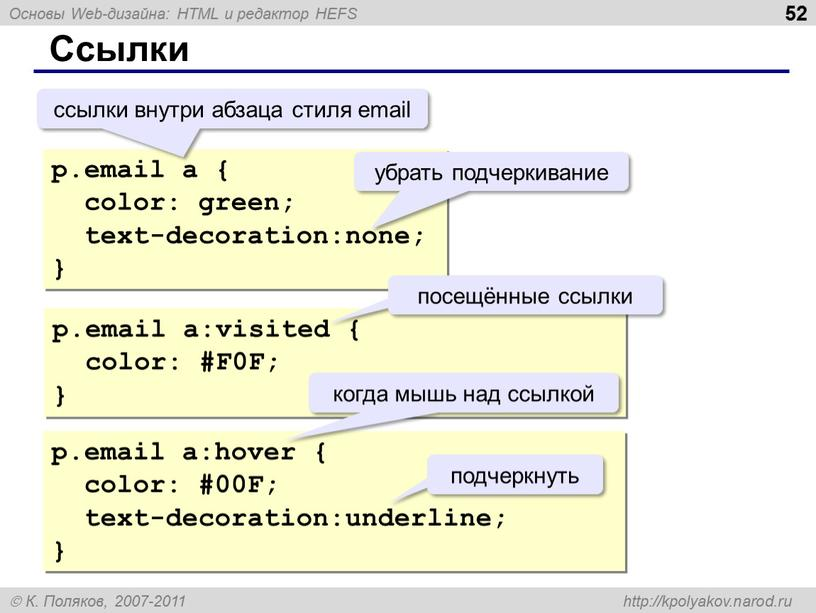 Ссылки p.email a { color: green; text-decoration:none; } p