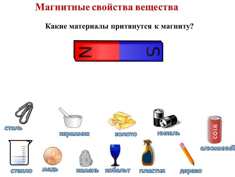 Магнитные свойства вещества Какие материалы притянутся к магниту?