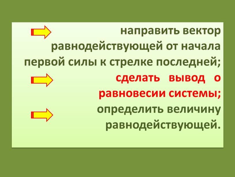 направить вектор равнодействующей от начала первой силы к стрелке последней; сделать вывод о равновесии системы; определить величину равнодействующей.
