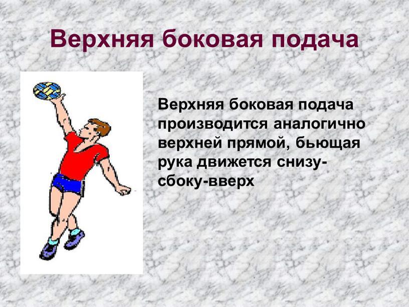 Верхняя боковая подача Верхняя боковая подача производится аналогично верхней прямой, бьющая рука движется снизу-сбоку-вверх