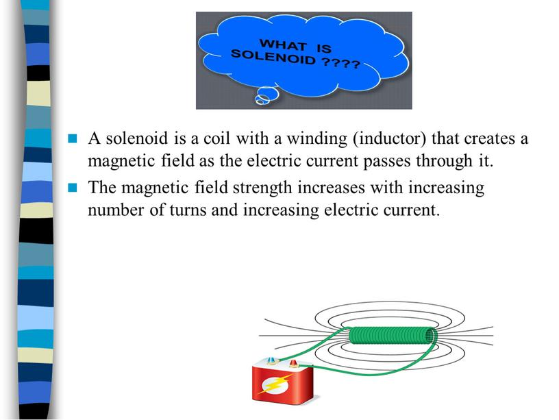 A solenoid is a coil with a winding (inductor) that creates a magnetic field as the electric current passes through it