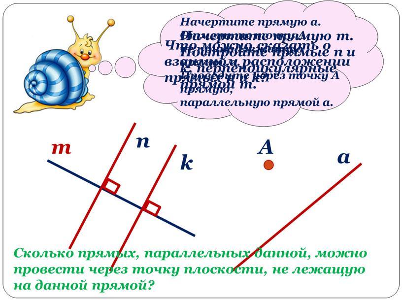 Начертите прямую m. Постройте прямые n и k, перпендикулярные прямой m