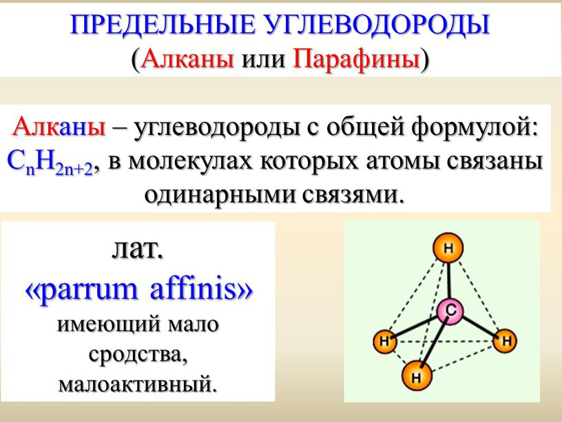Алканы – углеводороды с общей формулой: