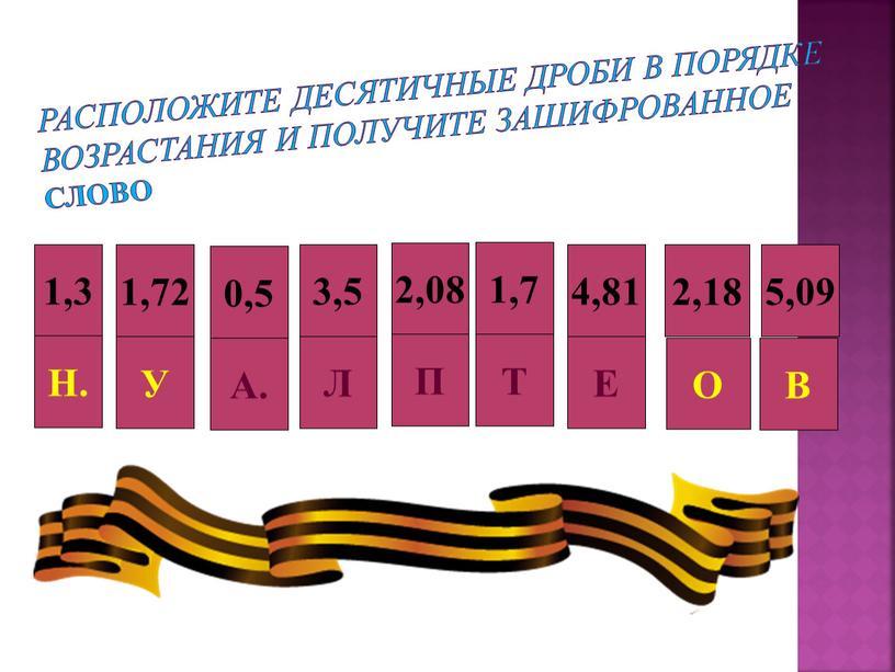 Расположите десятичные дроби в порядке возрастания и получите зашифрованное слово