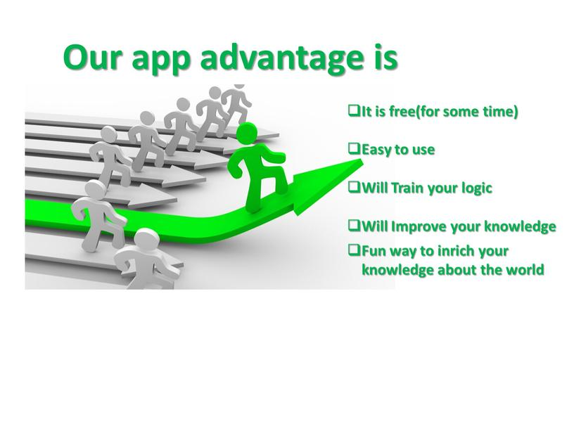 Our app advantage is It is free(for some time)