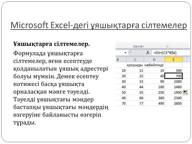 Microsoft Excel-дегі ұяшықтарға сілтемелер Ұяшықтарға сілтемелер