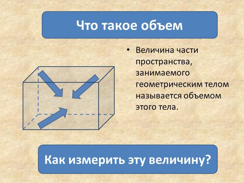 Величина части пространства, занимаемого геометрическим телом называется объемом этого тела
