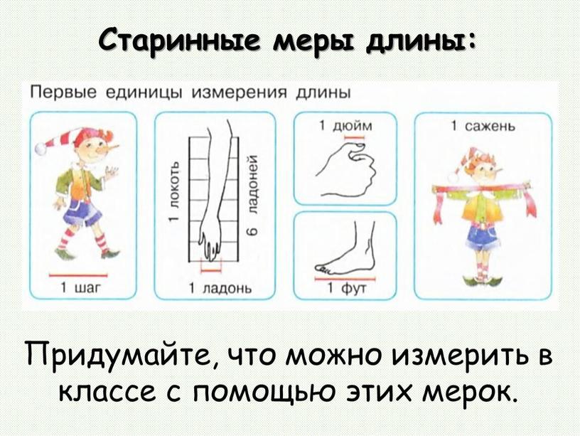 Старинные меры длины: Придумайте, что можно измерить в классе с помощью этих мерок