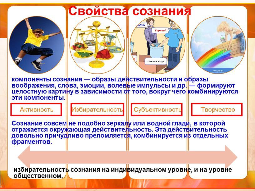 Свойства сознания компоненты сознания — образы действительности и образы воображения, слова, эмоции, волевые импульсы и др