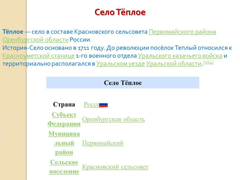 Село Тёплое Страна Россия