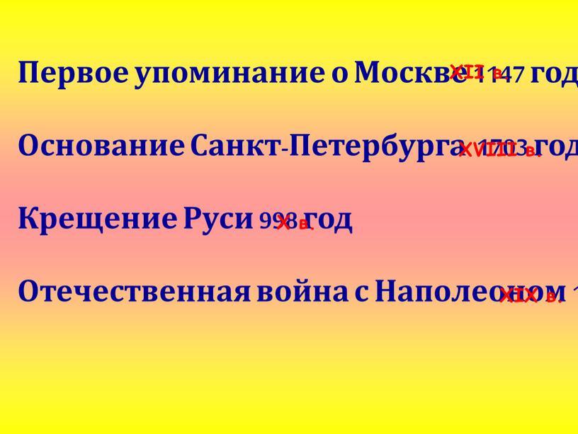 Первое упоминание о Москве 1147 год