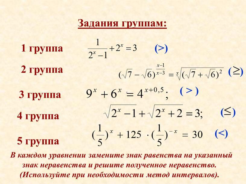 Задания группам: 1 группа 2 группа 3 группа 4 группа 5 группа