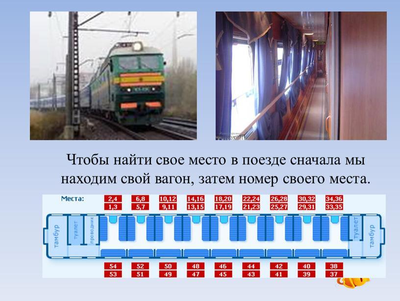 Чтобы найти свое место в поезде сначала мы находим свой вагон, затем номер своего места