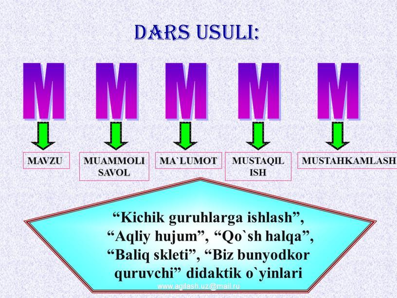 DARS USULI: M M M M M MAVZU MUAMMOLI
