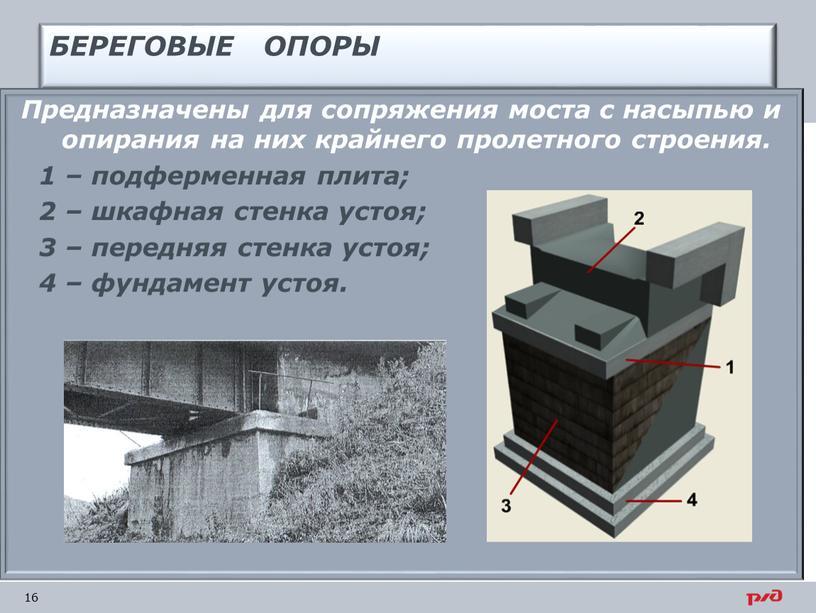 БЕРЕГОВЫЕ ОПОРЫ Предназначены для сопряжения моста с насыпью и опирания на них крайнего пролетного строения