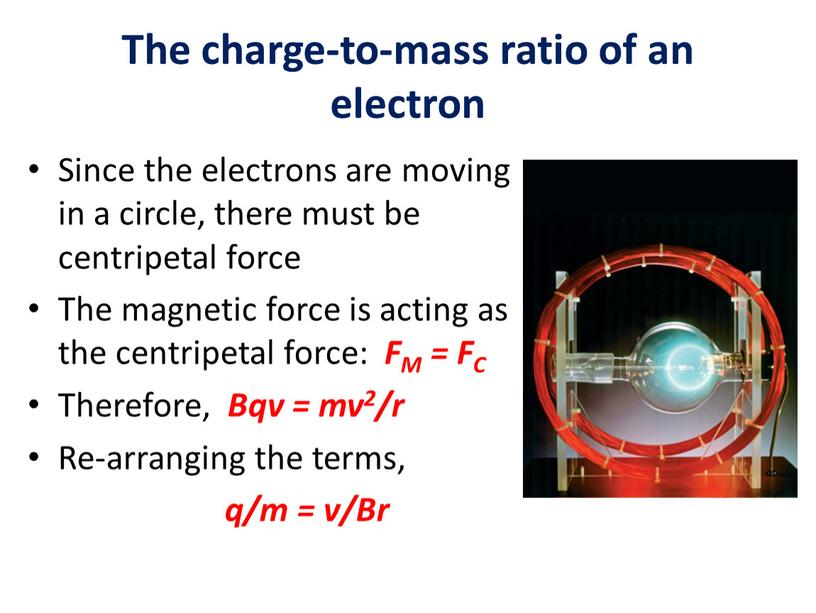 The charge-to-mass ratio of an electron