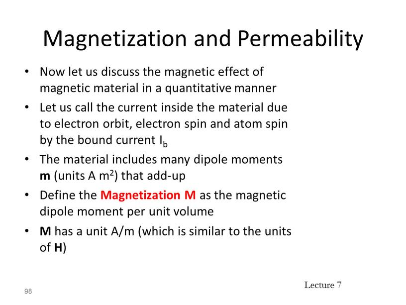 Magnetization and Permeability