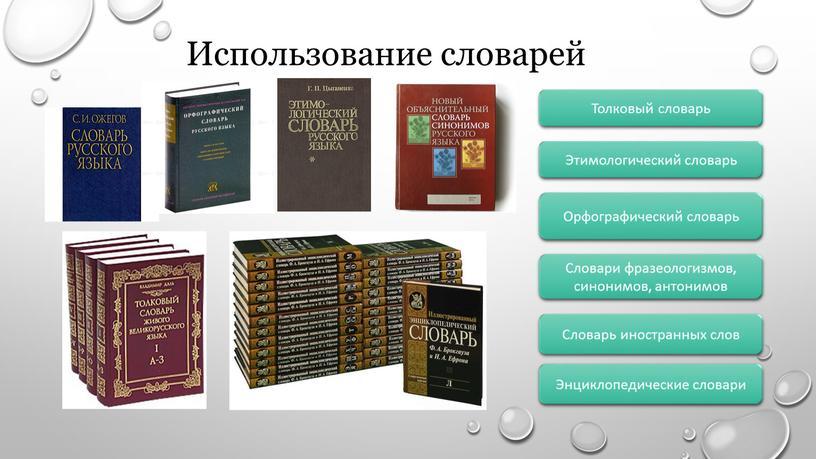 Использование словарей Орфографический словарь