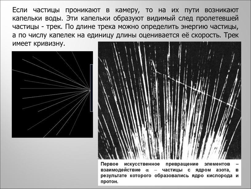 Если частицы проникают в камеру, то на их пути возникают капельки воды