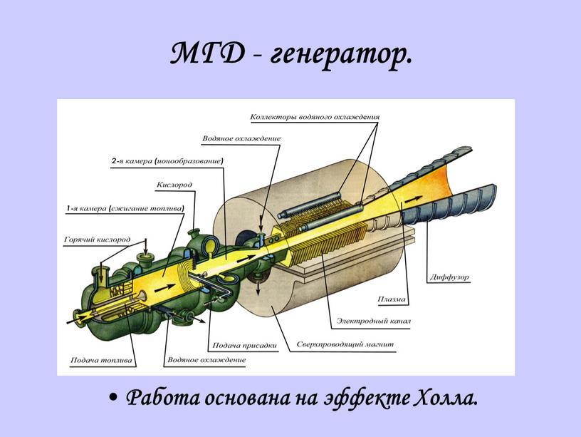 МГД - генератор. Работа основана на эффекте