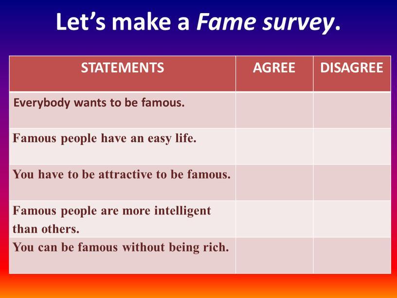 Let's make a Fame survey . STATEMENTS