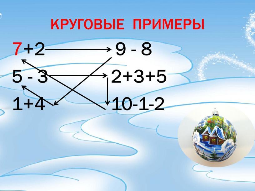КРУГОВЫЕ ПРИМЕРЫ 7+2 9 - 8 5 - 3 2+3+5 1+4 10-1-2