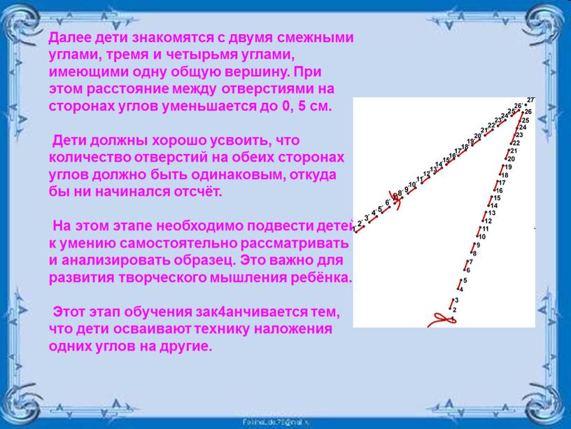 Далее дети знакомятся с двумя смежными углами, тремя и четырьмя углами, имеющими одну общую вершину