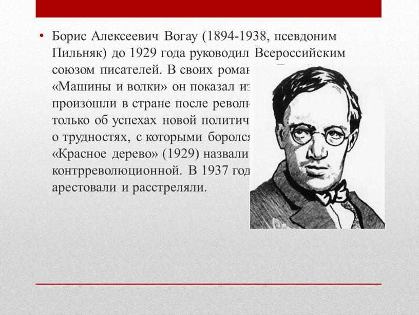 Борис Алексеевич Вогау (1894-1938, псевдоним